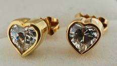 14 kt gold earrings inlaid with zirconia – length: