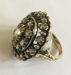 Gold/silver diamond rose ring, model XL