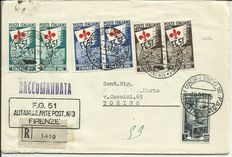 Italian Republic, 1951 – Gymnast series on registered mail envelope from Florence to Turin