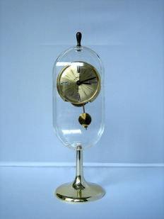 Vintage art desk clock by Wu a. Schmid-floating Pendulum, West Germany 1960