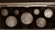 United Kingdom - 3 Pence up to and including Crown 1887 ' Silver Jubilee issue' (7 coins) in set