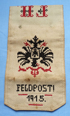 Rare WW1 Imperial German Embroidered Field Post Wallet - dated 1915 - with German Crowned Eagle Motif and Owner's Initials
