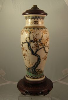 Satsuma pottery vase converted to a lamp - Japan - ca. 1900