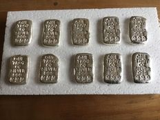 U.S.A - 10 cast silver bars, 10 x 1 oz .999, Atlantis Mint, Skull and Crossbones