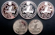 The Netherlands – 20 and 50 Euro coins 1996/1998 (5 different ones) – silver