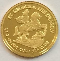 Cook Islands - 5 Dollars 2010 'St. George & the Dragon' - ½ gr. gold