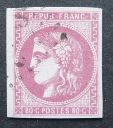 France 1870 – 80c rose signed Calves with digital certificate – Yvert n° 49