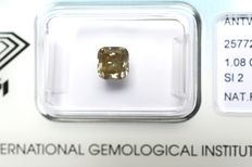 1.08 ct. Square cushion modified cut brilliant diamond, natural fancy greyish yellow brown, VG/VG/G, SI2 – No reserve price
