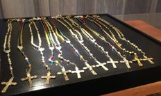 Eleven vintage rosaries , five are silver tone metal and six with plastic old bead with silver tone metal
