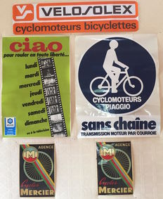 Lot 5 adhesive posters of a cycles store, 1960-1980