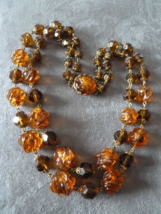 Necklace with two rows of molten glass and crystal, honey colour