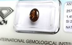 1.45 ct. Oval modified cut brilliant diamond, natural fancy deep orange brown, VG/VG/G, SI2 – No reserve price