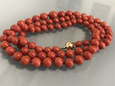 Sardinian red coral necklace.