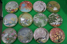 Franlkin Mint Birds & Flowers of the Orient Plate Complete Set of 12 from Japan