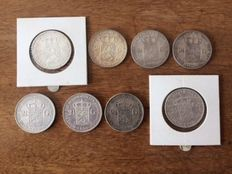 The Netherlands – 2 guilders 1871/1932 Willem II, III and Wilhelmina (8 different coins) – silver
