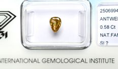 0.58 ct. Pear cut brilliant diamond, natural fancy deep brownish yellow, G/G/G, SI2 – No reserve price