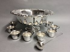Silver plated Punch Bowl with serving spoon and 12 silver plated cups to drink out of, England, ca. 1935