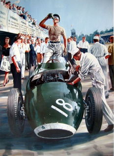 "Art Print  - "" Rock'n Roll Pit Stop "" Grand Prix de Monza 1957 - Stirling Moss"