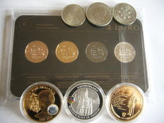 Germany - Set 2 Euro 2014 Precious Metal (4 different plated coins) + 3 medals gold plated + 3 coin mark