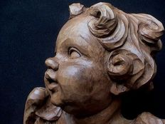 Large putto/angel sculpture - beautifully carved - cedar wood - France - ca. 1900