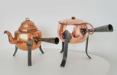 Vintage Tinned Copper Tea-/Coffee Pot, Sweden and Vintage Tinned Copper Saucepan with Lid and Ladle, Sweden