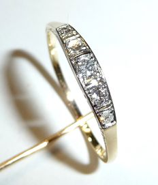 14 kt / 585 white gold ring with 5 diamonds (H/SI), approx. 0.18 ct