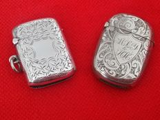 2x matchboxes: one in 925/1000 silver, brand Joseph Gloster, Birmingham 1901 - the other is in electroplated silver and hallmarked W.O.E.P.