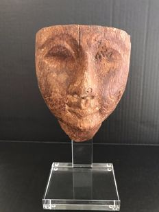 Ancient Egyptian wooden Mummy Mask Third Intermediate  - 5 Inches,