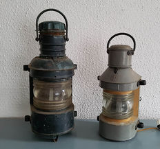 2 old industrial ship's lamps-20th century