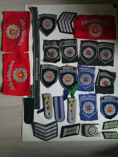 DDR, GDR, police, lot of badges, armbands...