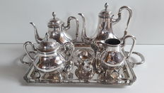 Classic silver tea set, 7 pieces, D.Garcia Madrid, 20th century