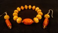 Antique Genuine Baltic Amber Bracelet and Earrings, 21 grams
