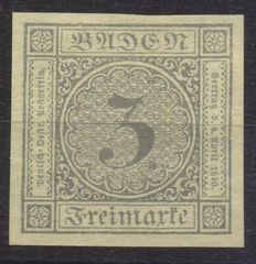Germany, Old States - 3 yellow Kreuzer, Baden, 1851, not perforated, Michel no. 2