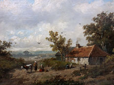 A.J van Wijngaerdt  (1808 -1887) - Bustle at the farm