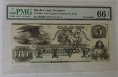 USA - Rhode Island, Newport 5 dollars 1860's - Remainder - New England Commercial Bank
