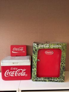 Cool box and sandwich box from the 80s and a cool box in the shape of a fridge from the early 2000s