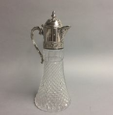 Cut glass decanter for red wine with silver plated mounting, so-called claret jug, England, ca. 1945