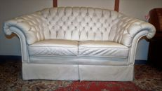 Worn Chesterfield style sofa, white leather, late 20th century