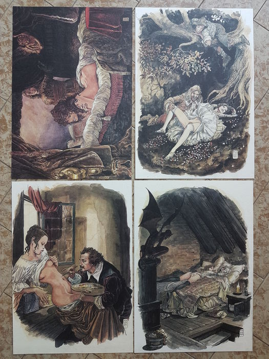 "Manara, Milo - portfolio ""Favole libertine"", with 12x lithographs"