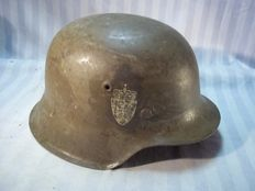 German helmet model 1942 with double decal from Norway.