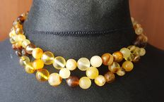 100% natural Baltic Amber necklace multi colour, 37 gram
