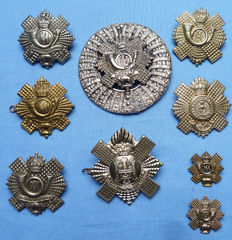 Set of WW2 British Army Scottish Highland Light Infantry Regiment Badges and Brooch