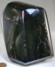 "Green-blue Amber - 329g - high gloss polished - ""three surface stone"" - large 120mm stone - 120 x 85 x 58mm"