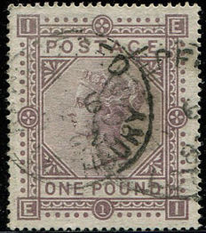 Great Britain 1878 - Queen Victoria £1 Brown/Lilac - Stanley Gibbons 129