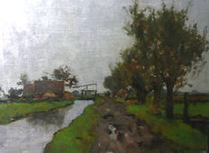 Victor Bauffe (1849-1921) - Dutch canal landscape with drawbridge