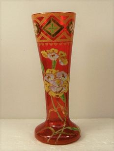 Legras St. Denis (attr.) - Art Nouveau vase with gold and enamel decorations