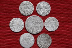 Poland / Lithuania - Lot of 7 coins from 17th century - silver