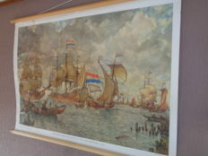 "Beautiful old school poster school map on linen by Isings with old VOC ships with the title ""Incoming fleet for Amsterdam +/-1665"""