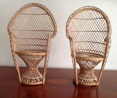 Two braided doll chairs 20th century