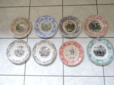 8 collection plates 19th century